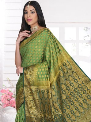 Green Ceremonial Cotton Silk Designer Saree