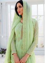 Green Ceremonial Faux Georgette Designer Palazzo Salwar Suit