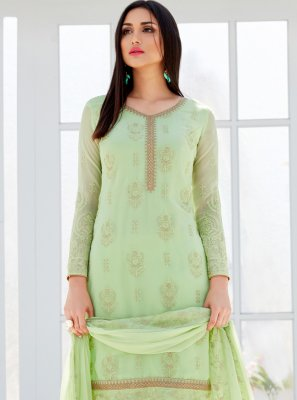 Green Ceremonial Faux Georgette Designer Palazzo Salwar Suit