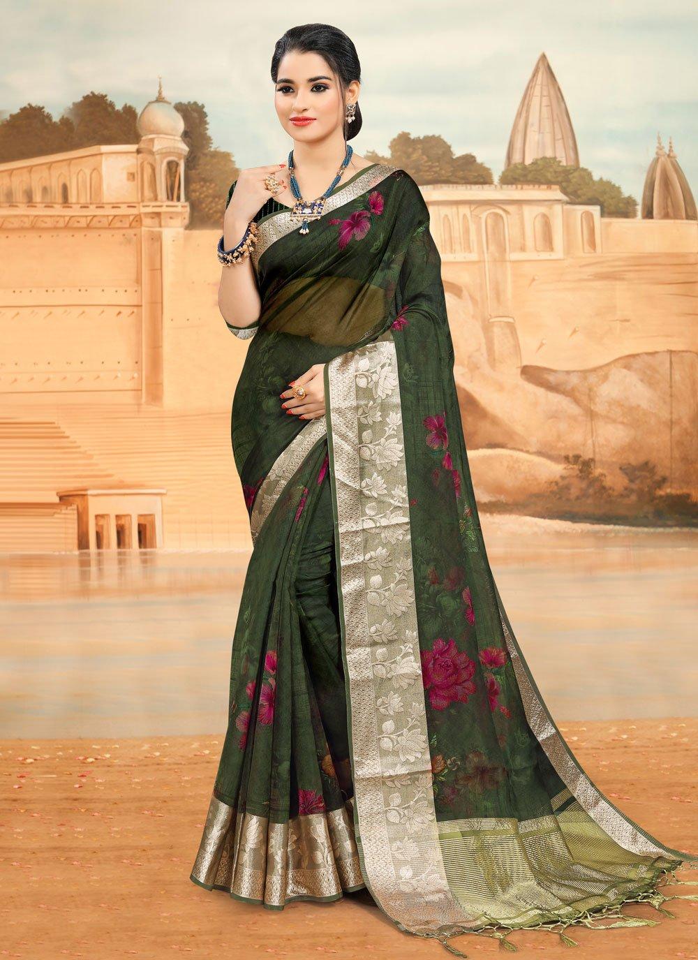 Green Ceremonial Printed Saree