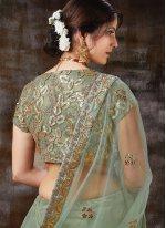 Green Ceremonial Silk Trendy Lehenga Choli