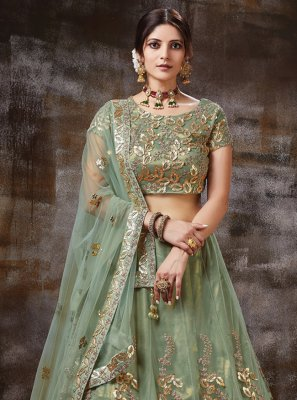 Green Ceremonial Silk Trendy Lehenga Choli