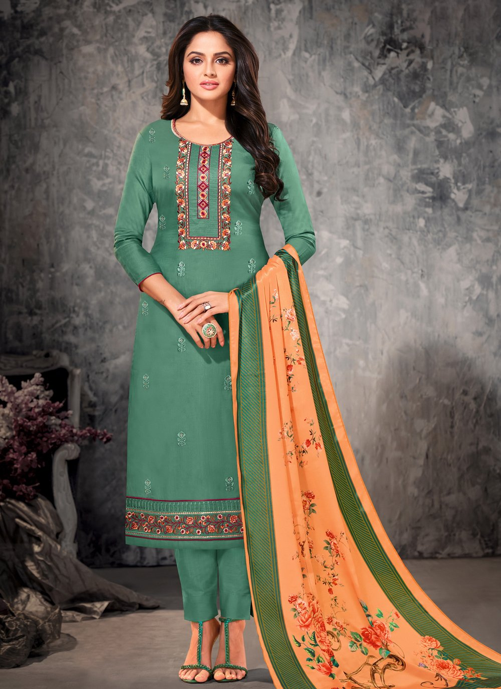 Green Ceremonial Straight Suit