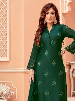 Green Chanderi Designer Suit