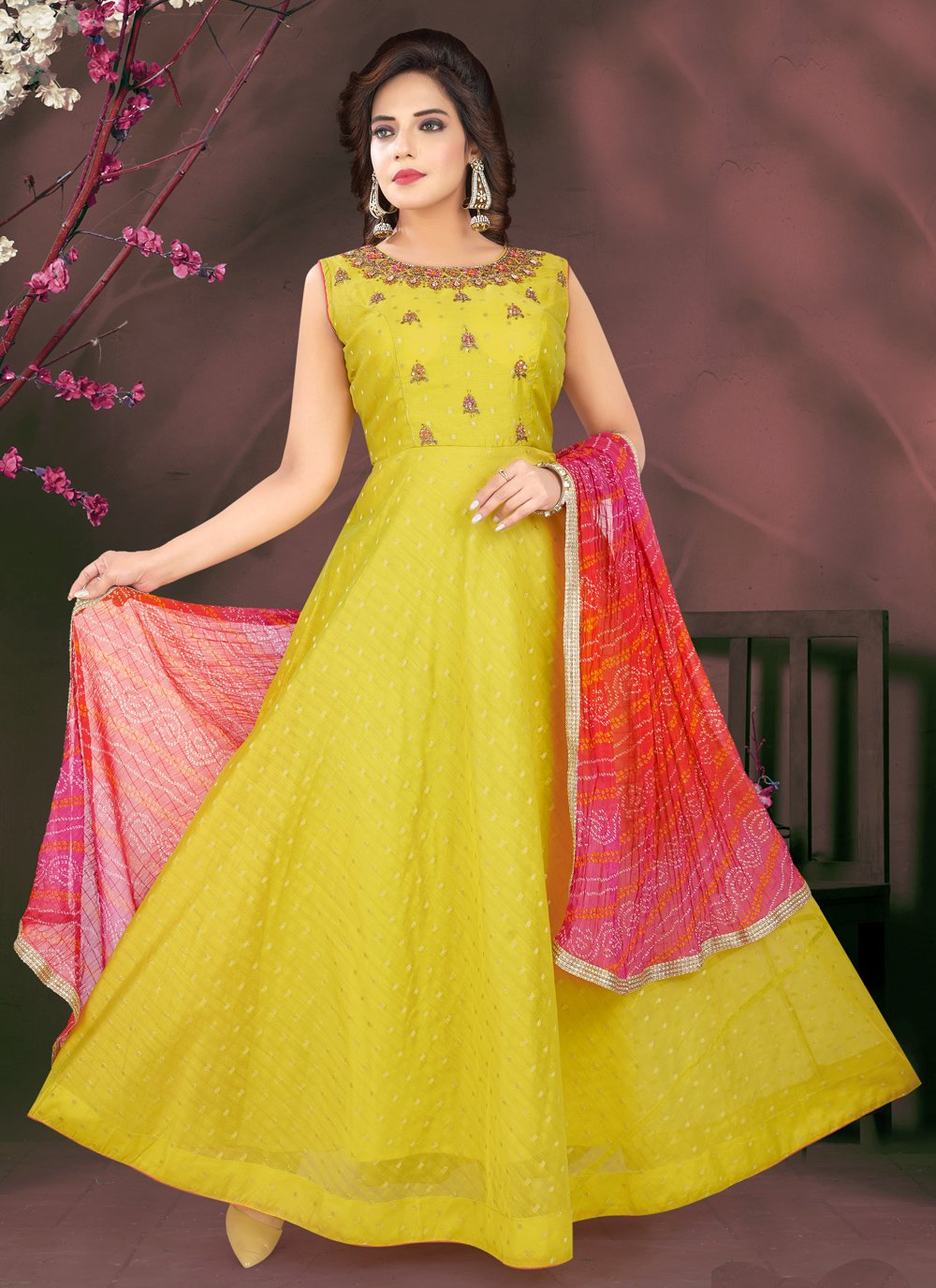 Green Chanderi Engagement Readymade Suit