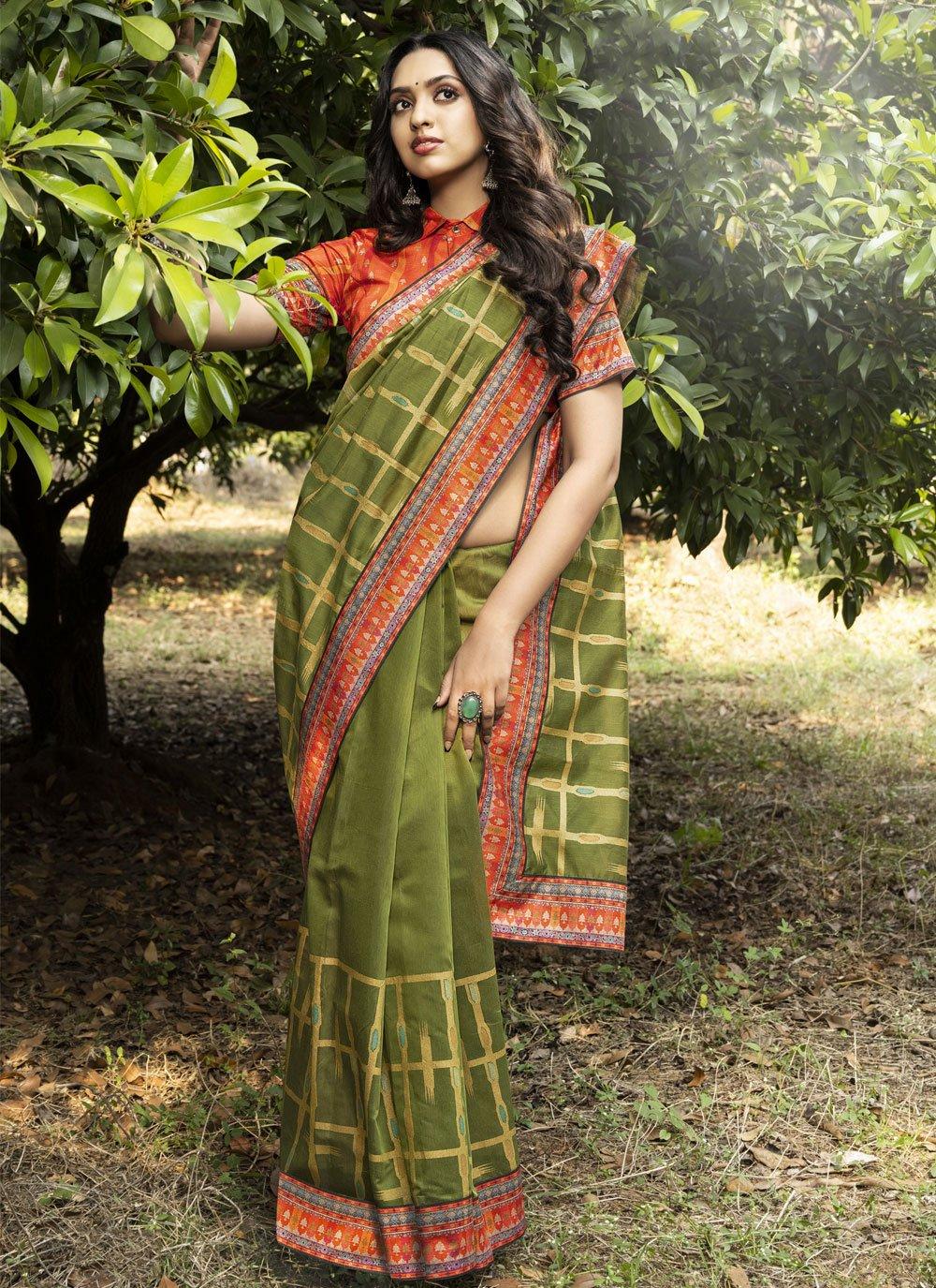 Green Chanderi Festival Traditional Designer Saree