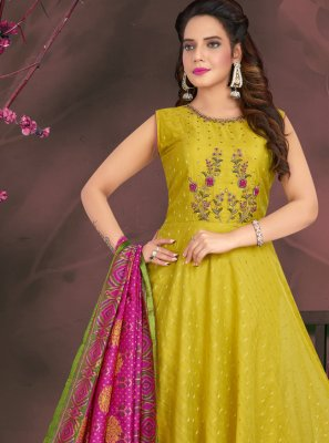 Green Chanderi Readymade Suit