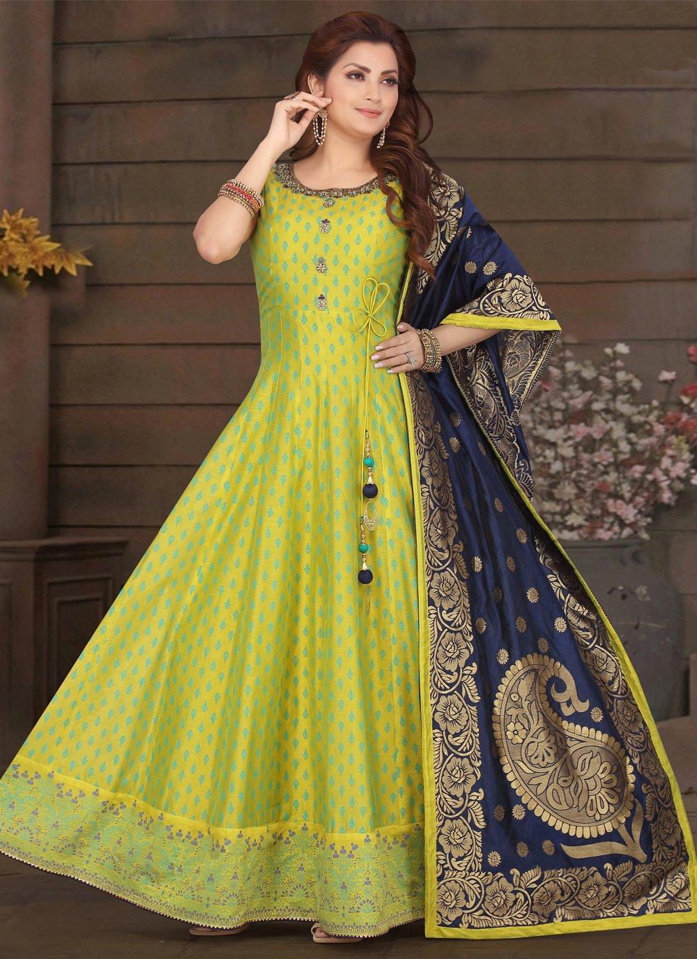 Green Chanderi Sangeet Readymade Suit