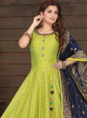 Green Chanderi Sangeet Readymade Suit