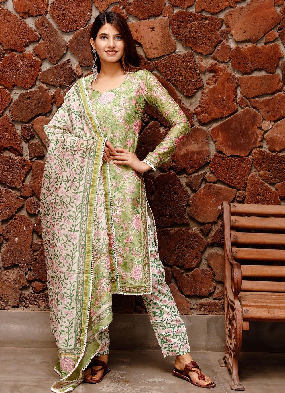 Green Chanderi Straight Salwar Suit