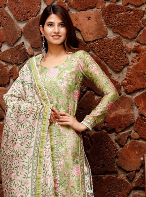 Green Chanderi Straight Salwar Suit