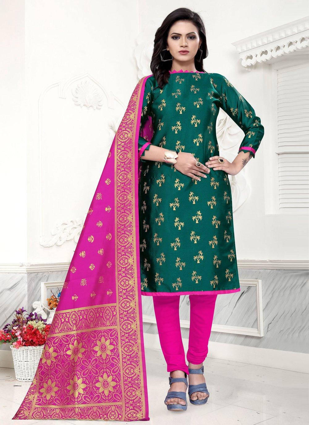 Green Color Churidar Salwar Kameez