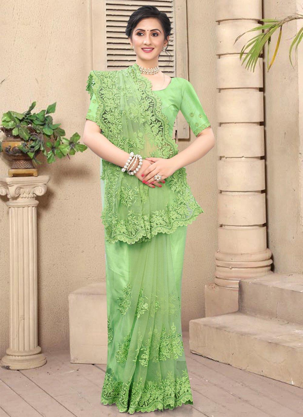 Green Color Contemporary Saree