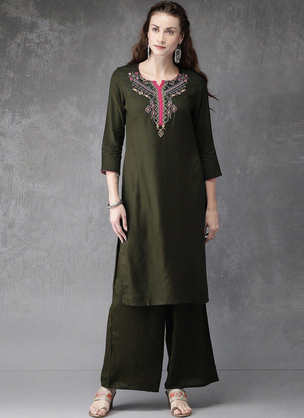 Green Color Designer Kurti