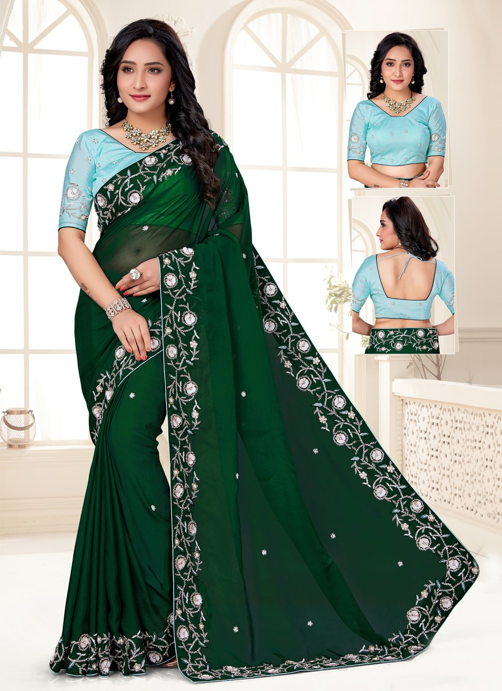Green Color Designer Saree