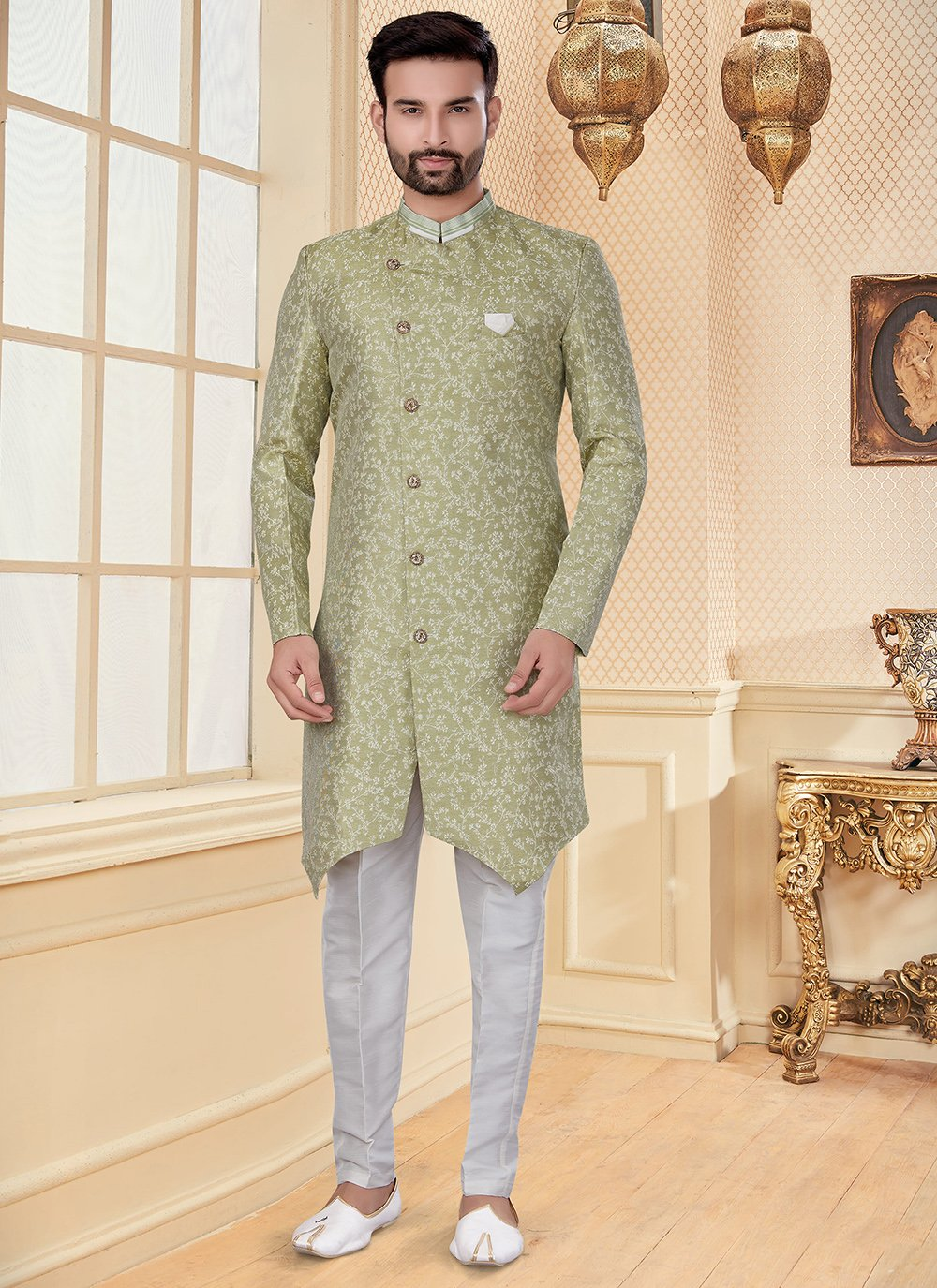 Green Color Indo Western