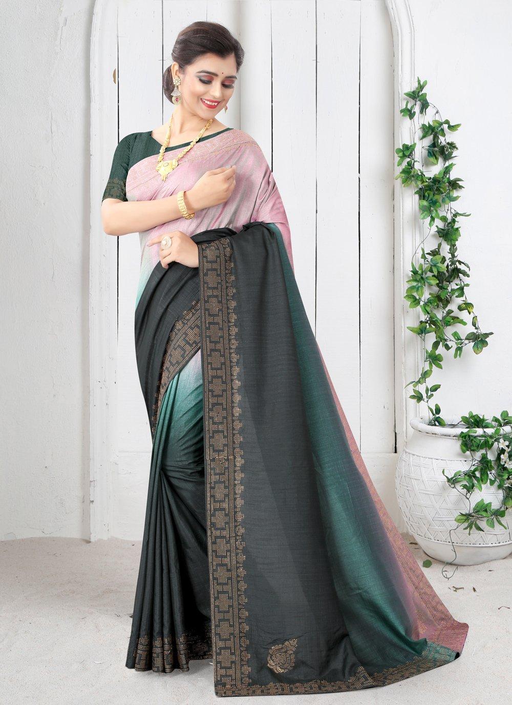 Green Color Shaded Saree