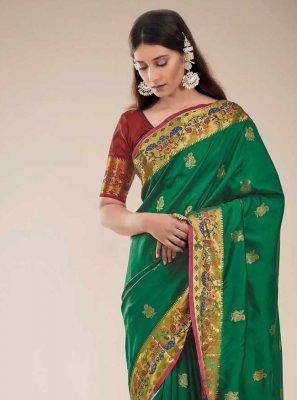 Green Color Traditional Designer Saree