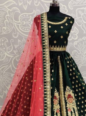 Green Color Trendy Lehenga Choli