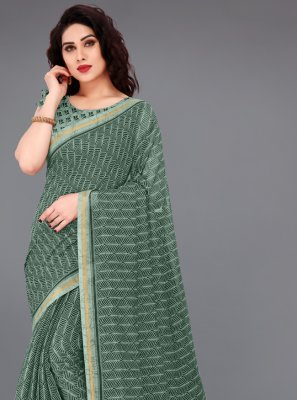 Green Cotton Abstract Print Printed Saree