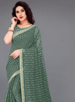 Green Cotton Abstract Print Printed Saree