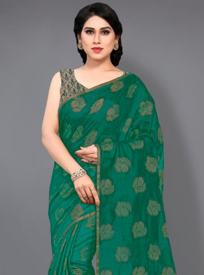 Green Cotton Classic Designer Saree