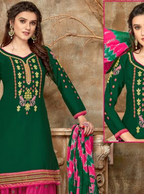 Green Cotton Designer Patiala Suit