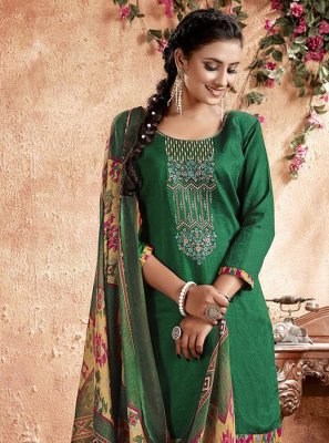 Green Cotton Designer Patiala Suit