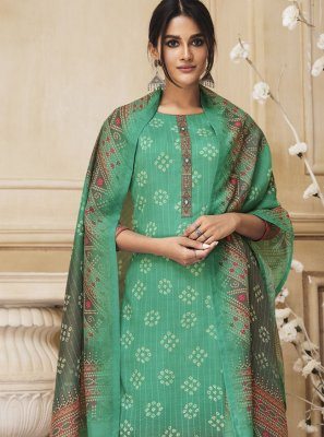 Green Cotton Designer Salwar Kameez