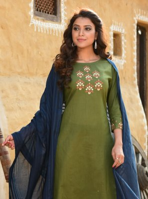 Green Cotton Embroidered Readymade Suit