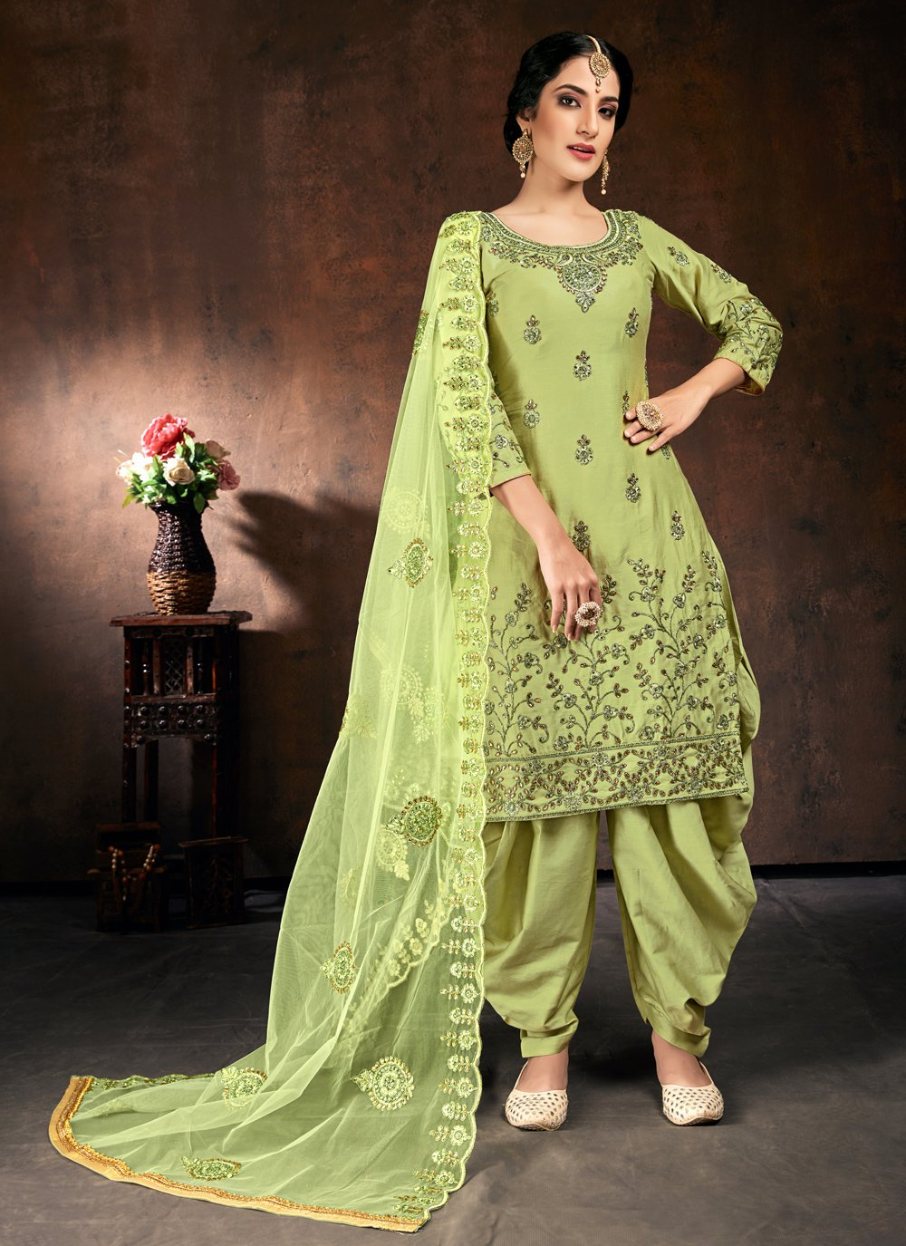 Green Cotton Festival Designer Patiala Suit