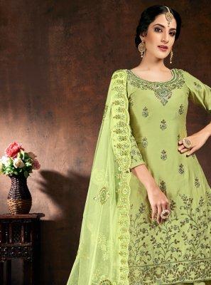 Green Cotton Festival Designer Patiala Suit