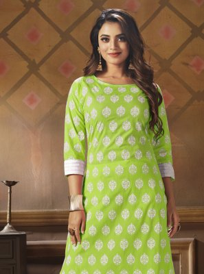 Green Cotton Festival Party Wear Kurti
