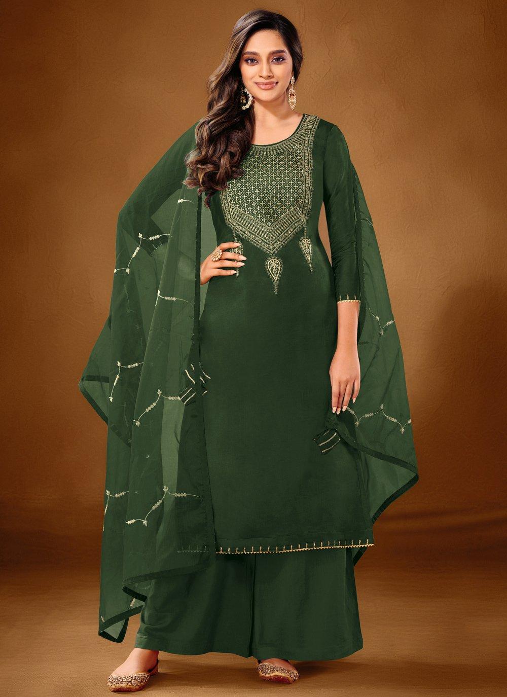 Green Cotton Lawn Ceremonial Designer Pakistani Salwar Suit