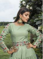 Green Cotton Designer Gown