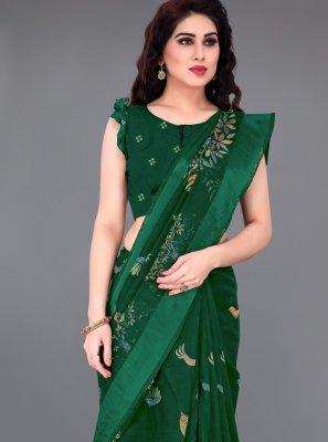 Green Cotton Party Contemporary Saree