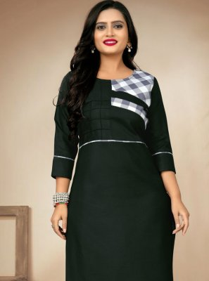 Green Cotton Party Wear Kurti