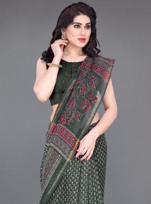 Green Cotton Printed Printed Saree