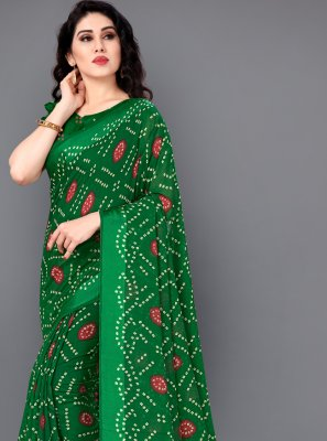 Green Cotton Printed Saree