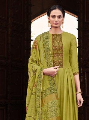 Green Cotton Silk Designer Palazzo Suit