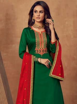 Green Cotton Silk Long Choli Lehenga
