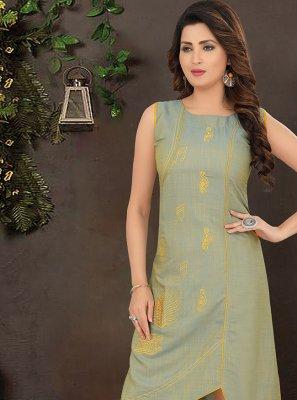Green Cotton Silk Party Wear Kurti
