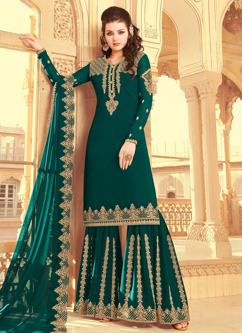 Green Designer Pakistani Salwar Suit
