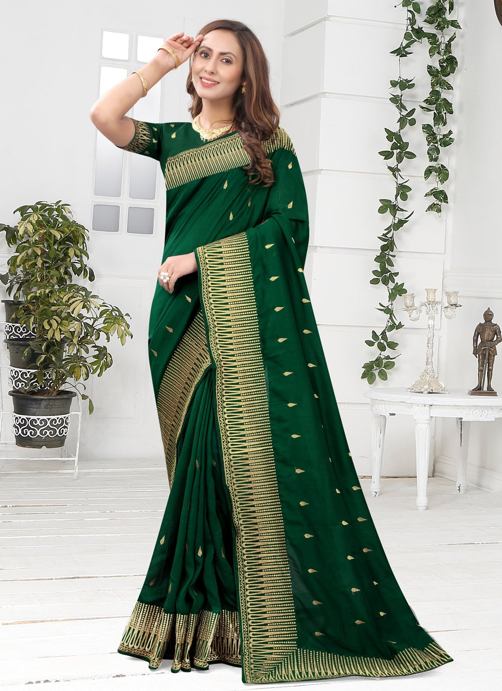 Green Designer Saree