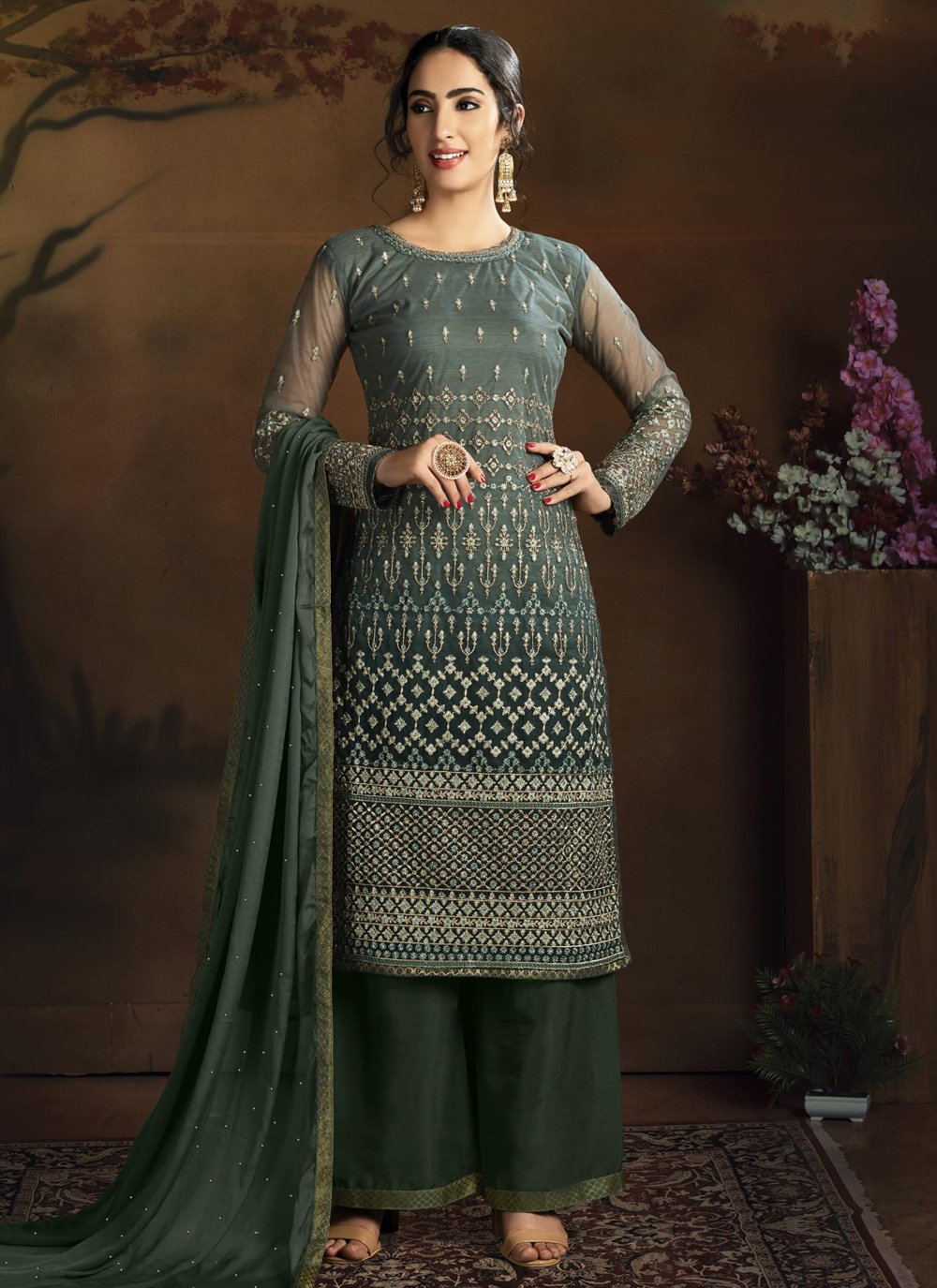 Green Diamond Designer Palazzo Suit