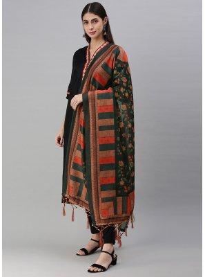 Green Digital Print Chanderi Designer Dupatta