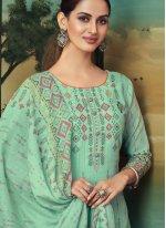 Green Digital Print Designer Palazzo Salwar Suit