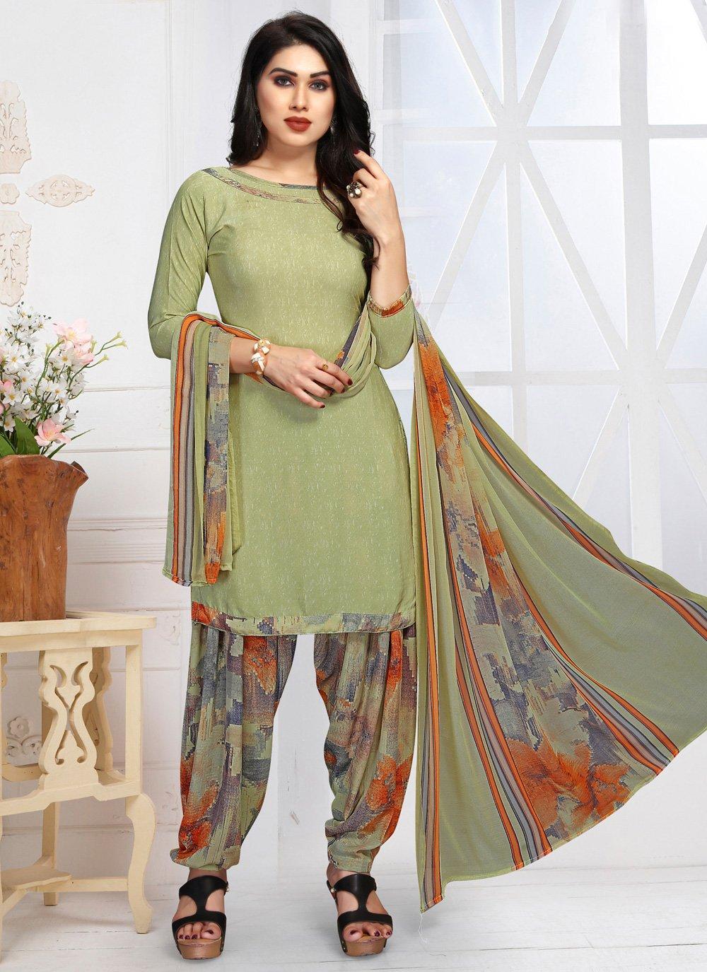 Green Digital Print Faux Crepe Patiala Suit