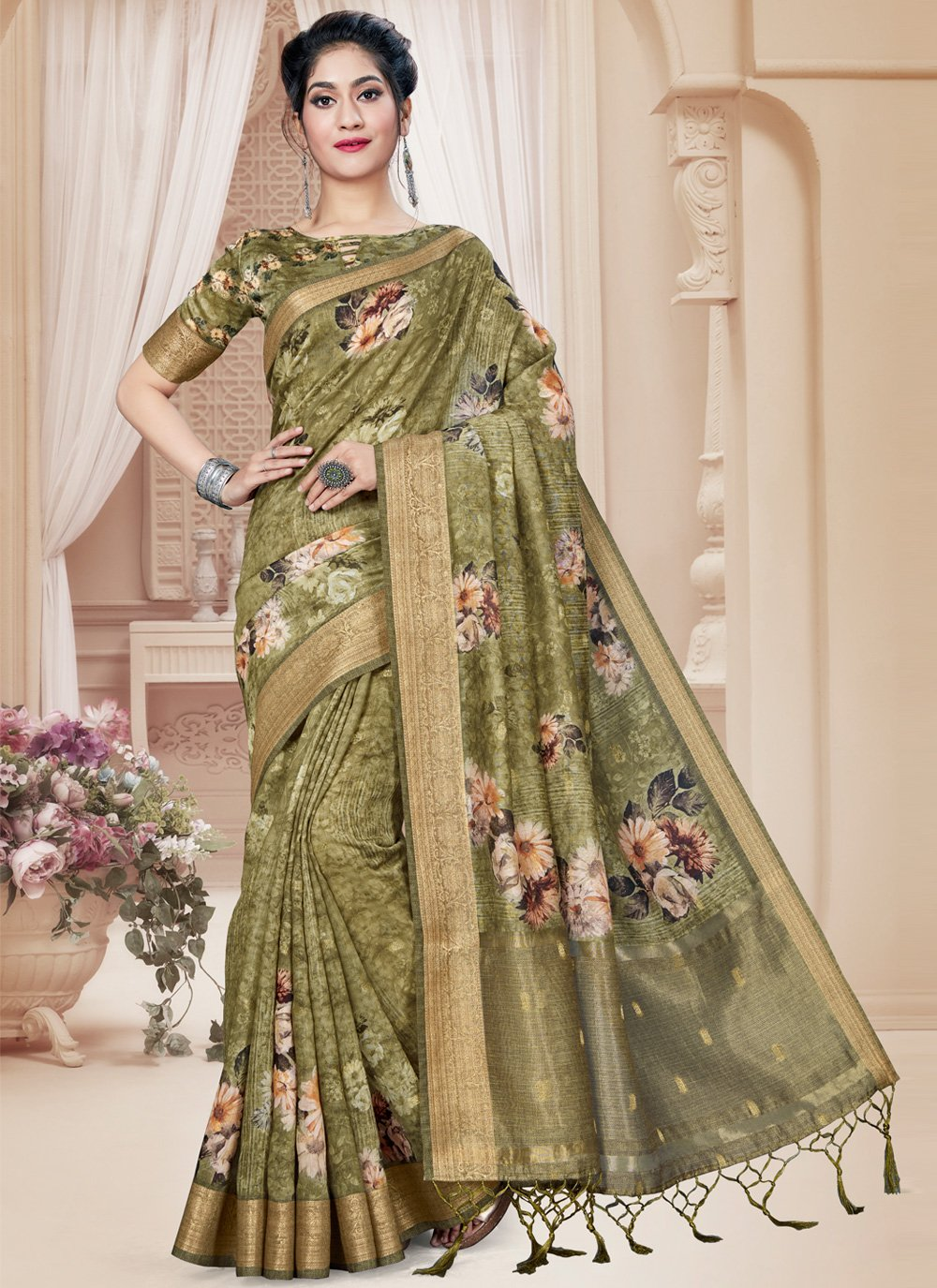 Green Digital Print Printed Saree