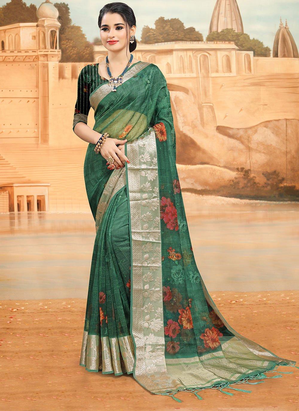 Green Digital Print Printed Saree